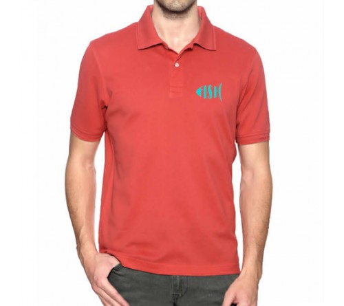 Embroidered Mix Cotton Polo T-Shirt Red